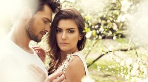 Free Summer Photo Of Beautiful Young Couple In The Garden Stock Photos - 126711923