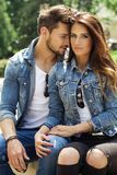 Young couple on the date touching each other royalty free stock photo