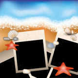 Summer photoframe with starfish and stone Royalty Free Stock Photography