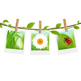 Summer Photos With Clothespins Royalty Free Stock Images