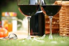 Summer picnic. Wine glasses and hamper picnic scene Stock Image