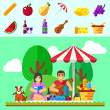 Summer picnic background. Young family with dog, happy couple holiday, outdoor date Royalty Free Stock Image