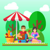 Summer picnic background. Young family, happy couple holiday, healthy date Stock Photography