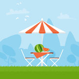 Summer picnic on the backyard. Royalty Free Stock Photo