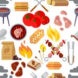 Summer picnic, barbecue and grilled food steak vector seamless texture vector illustration