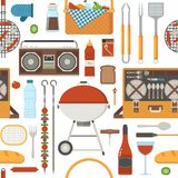 Summer Picnic and Barbecue Pattern Stock Images
