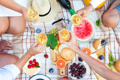 Summer Picnic Basket on the Green Grass. Food and drink concept. Stock Image