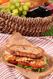Summer picnic basket griddle chicken salad sandwich. Picnic basket griddle chicken salad sandwich Stock Photo