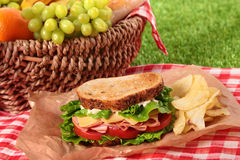 Summer picnic basket toasted ham and cheese sandwich Stock Photos