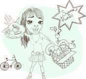 Summer picnic cartoon with funny girl Stock Photo