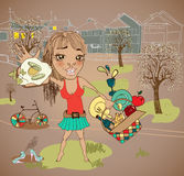 Summer picnic cartoon with funny girl Stock Photography