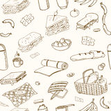 Summer picnic doodle seamless pattern. Various meals, drinks, objects, sport activities. Royalty Free Stock Photo