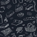 Summer picnic doodle seamless pattern. Various meals, drinks, objects, sport activities. Royalty Free Stock Image