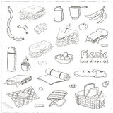 Summer picnic doodle set. Various meals, drinks, objects, sport activities. Vector illustration Stock Photography