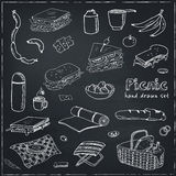 Summer picnic doodle set. Various meals, drinks, objects, sport activities. Vector illustration Stock Photo