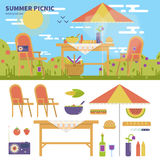 Summer picnic in the garden. Geometric illustartion of summer picnic in the garden with flowers. Rest and weekend concept. Umbrella, table, chairs, food, fruits Royalty Free Stock Photos