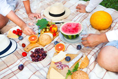 Summer Picnic on the Green Grass. Food and drink concept. Stock Photo