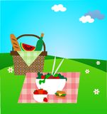 Summer picnic on green meadow stock illustration