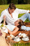 Summer picnic - Happy couple in meadow Stock Photos