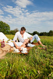 Summer picnic - Happy couple in meadow Royalty Free Stock Images
