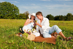 Summer picnic - Happy couple in meadow royalty free stock photos