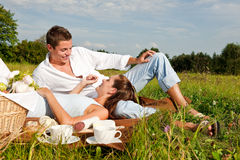 Summer picnic - Happy couple in meadow Stock Photography