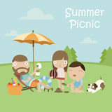 Summer Picnic. Happy Family with Dog on Summer Picnic. Vector Illustration with Flat Design Stock Photos