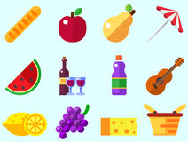 Summer picnic icon: umbrella, guitar, basket with food, fruits, barbecue. Stock Photo