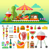 Summer picnic in meadow Stock Images