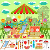 Summer picnic in the meadow with mountain views Royalty Free Stock Photography
