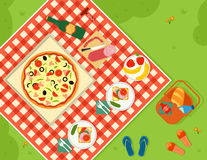 Summer picnic in park banner Stock Images
