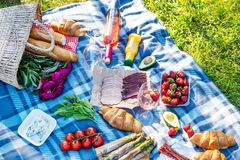 Summer picnic in the park on the grass. Wine, fruit and croissants.  royalty free stock images