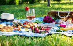 Summer picnic in the park on the grass. Wine, fruit and croissants.  royalty free stock photography