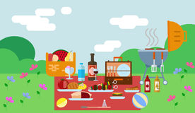 Summer picnic in park on the meadow vector illustration Stock Photo