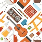 Summer Picnic and Barbecue Pattern Royalty Free Stock Photos