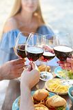 Summer picnic with red wine. Outdoor party or celebration stock photos