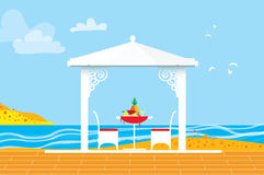 Summer picnic. Sea water landscape. Outdoor recreation. Table with chairs,arbor and pineapple. Dinner with fruit. Vector illustration in flat style vector illustration