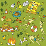 Summer-picnic-seamless-pattern Royalty Free Stock Image