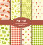 Summer picnic. Seamless patterns. Vector set. Seamless picnic patterns with checkered blanket, watermelons, butterflies, flowers, trees, grill and basket royalty free illustration