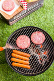 Summer picnic. With small charcoal grill in the park Stock Photo