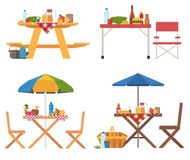 Summer Picnic Tables Collection Stock Photo