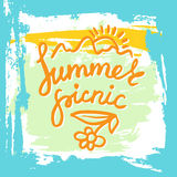 Summer Picnic typographic grunge card Royalty Free Stock Images