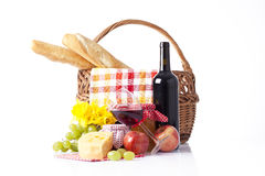 Summer picninc with red wine Stock Photos