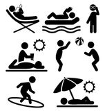 Summer pictograms flat people icons isolated on white Stock Photos