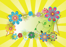 Summer picture. Yellow picture with beams and beautiful flowers Stock Images