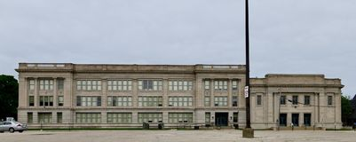 Central High School. This is a Summer picture of the historic Walter Reuther Central High School located in Kenosha, Wisconsin in Kenosha County. This three royalty free stock photo