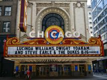 Chicago Theatre Marque. This is a Summer picture of the iconic Chicago Theatre Marque in the loop area located in Chicago, Illinois in Cook County. This theatre stock image
