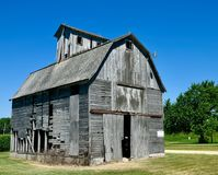 Rickety Old Barn. This is a Summer picture of an old weathered rickety framed barn located in Elburn, Illinois in Kane County.  This picture was taken on July 18 Royalty Free Stock Photography