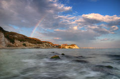 Summer picture with rainbow - Thracian cliffs resort Stock Image
