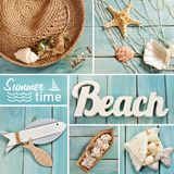 Summer collage with beach accessories on blue wooden board Royalty Free Stock Image